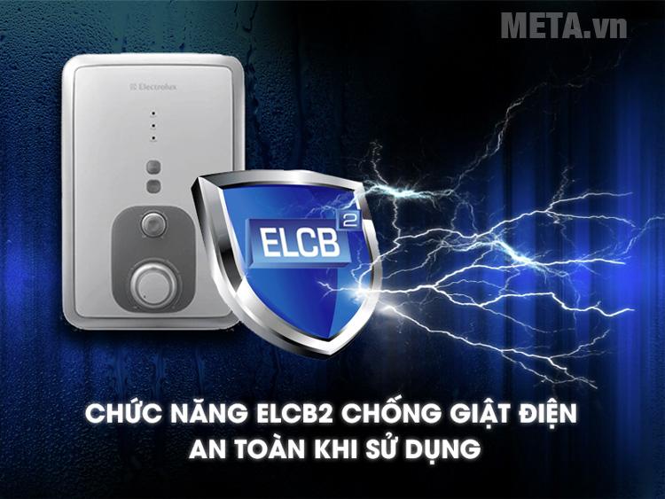 Máy nước nóng Electrolux EWE351BA-DW sở hữu hệ thống ELCB chống giật an toàn