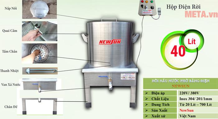 Cấu tạo của nồi nấu phở điện 40 lít NPVN40L