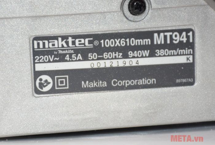 Máy chà nhám băng Maktec MT941 dùng điện 220V