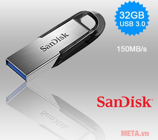 USB 3.0 Sandisk Ultra Flair CZ73 32GB cho khả năng truyền dữ liệu nhanh chóng