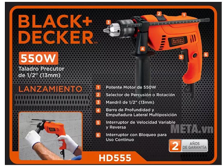 Máy khoan động lực Black&Decker HD555 có hộp đựng giấy