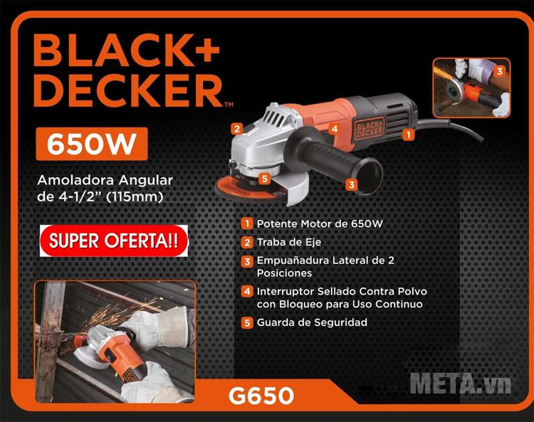 Máy mài góc Black & Decker G650 có công suất 650W