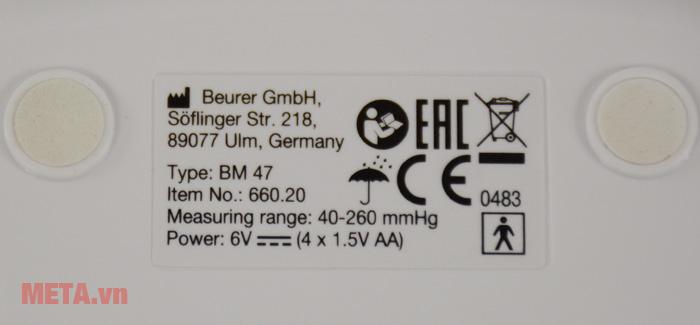 Máy đo huyết áp bắp tay Beurer BM47 có thông số trên thân máy