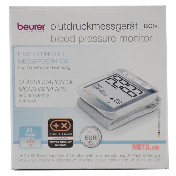 Máy đo huyết áp cổ tay Beurer BC50 có hộp giấy sang trọng