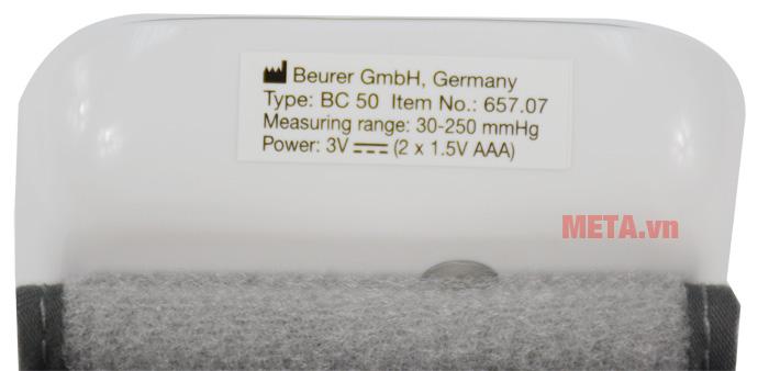 Máy đo huyết áp cổ tay Beurer BC50 có điện thế pin 3V