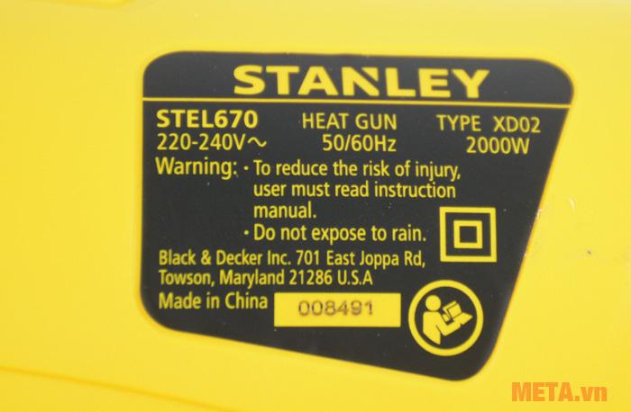 Máy thổi nóng Stanley Stel 670 có nhiệt độ nóng cao