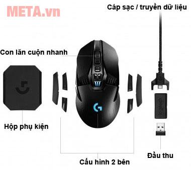Cấu tạo chuột chơi game Logitech G903 LIGHTSPEED Wireless có thiết kế không dây