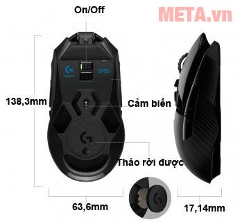 Kích thước chuột chơi game Logitech G903 LIGHTSPEED Wireless