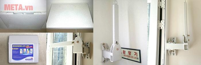 Cách lắp đặt giá treo của dây thoát hiểm vào tường