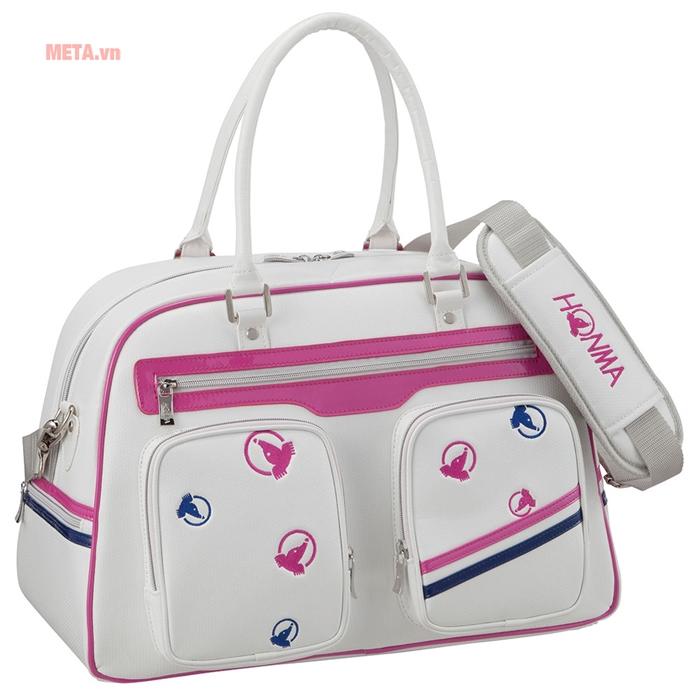 Túi golf nữ Honma boston bag BB-6707 màu trắng điểm chút hồng pha xanh cực ấn tượng