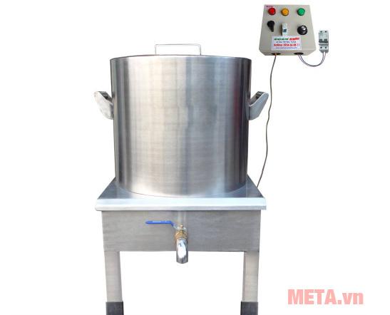 Nồi nấu nước lèo NPVN50L được làm bằng inox sáng bóng, bền bỉ