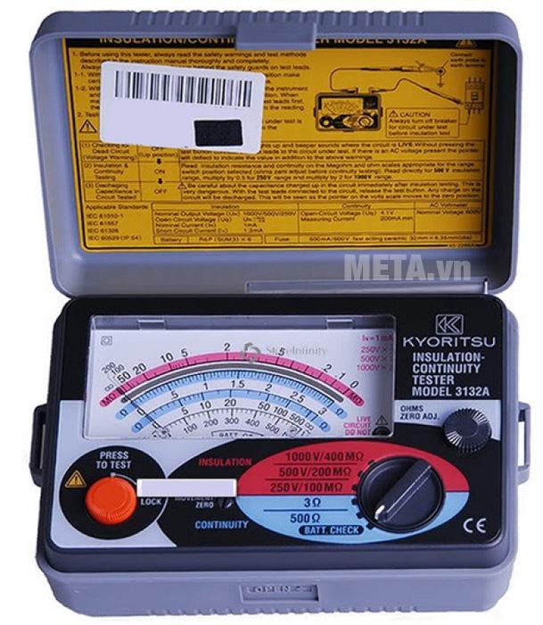 Đồng hồ đo điện trở cách điện Kyoritsu 3132A có hộp đựng bảo quản máy