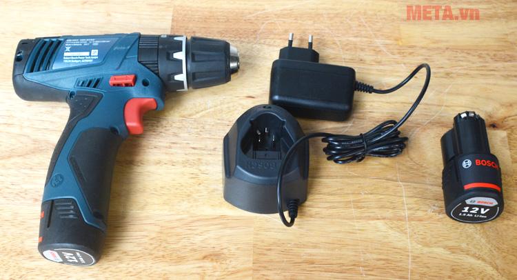 Máy khoan vặn vít động lực dùng pin Bosch GSB 120-LI được trang bị sạc và pin dự phòng