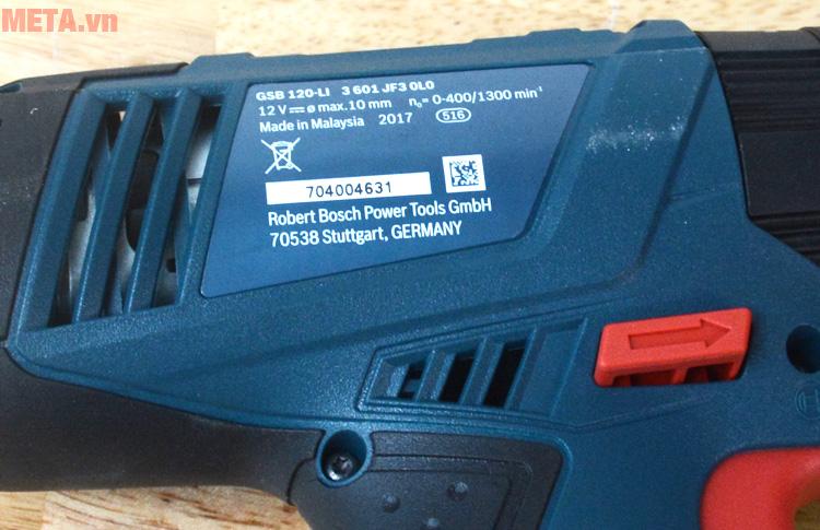 thông số kỹ thuật của máy khoan vặn vít động lực dùng pin Bosch GSB 120-LI