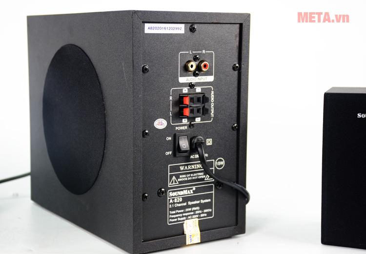 Cổng kết nối phía sau loa vi tính SoundMax A820 2.1
