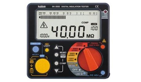 Đồng hồ đo điện trở cách điện Kaise SK-3500 đo điện áp, điện trở với độ chính xác cao.