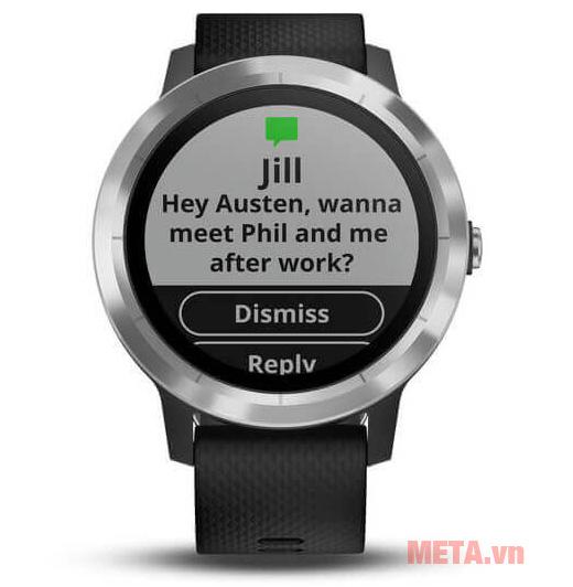 Bạn có thể nhận và gửi tin nhắn ngay trên đồng hồ Vivoactive 3