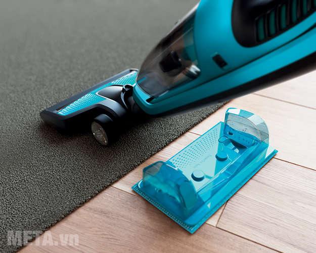 Máy hút bụi dễ dàng hút sạch bụi bẩn trên cả sàn gỗ và thảm