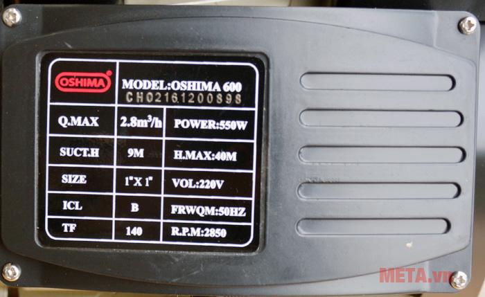 Các thông số kỹ thuật của máy được in ngay trên thân máy