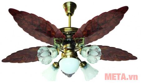 Hình ảnh quạt trần đèn chùm cánh gỗ Kim Thuận Phong BT508