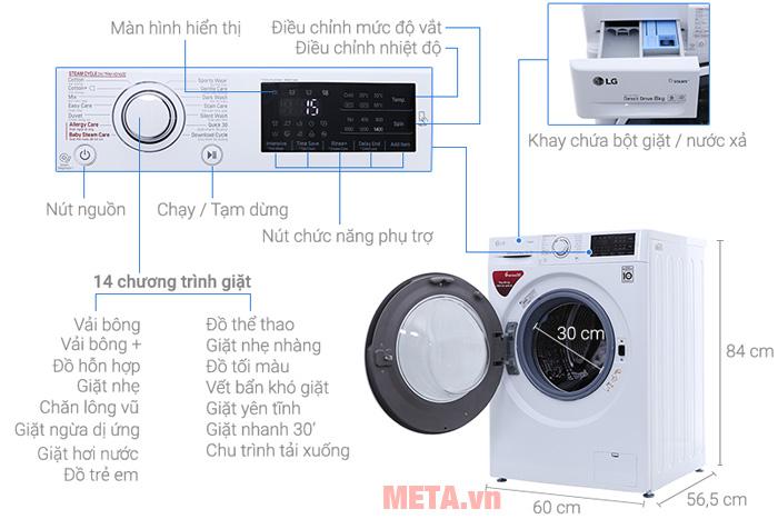 Cấu tạo các bộ phận của máy giặt LG FC1408S4W2