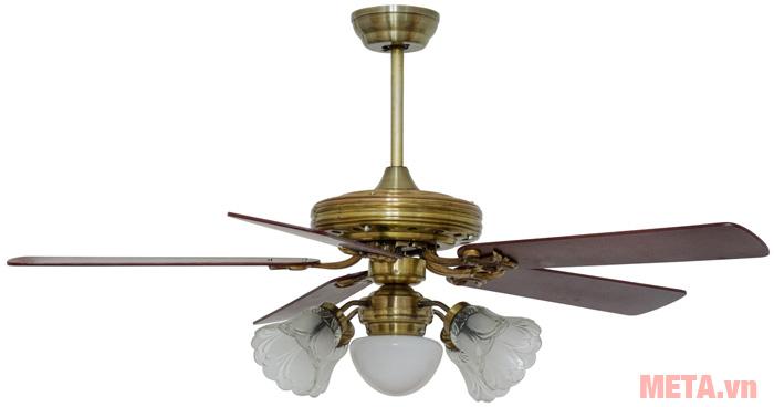 uạt trần đèn chùm cánh gỗ Kim Thuận Phong BT508N - 5 cánh