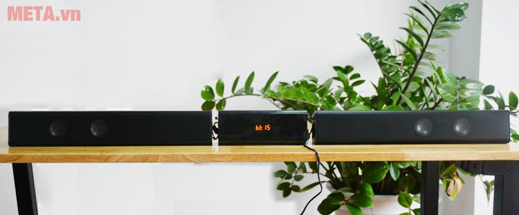 2 loa vệ tinh kết nối với bộ điều khiển trở thành 1 loa soundbar