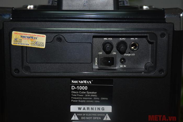 Công tắc và núm điều khiển âm lượng của loa SoundMax D-1000