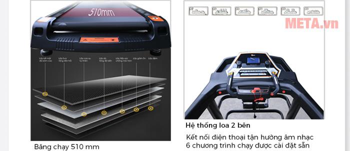 Băng chạy có đường kính rộng đảm bảo an toàn cho người dùng khi sử dụng