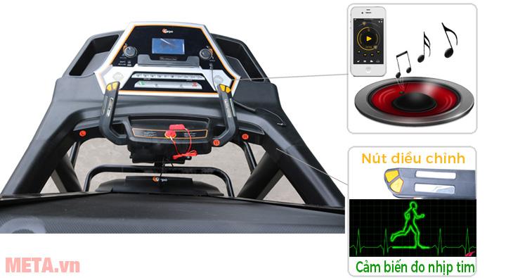 Máy có tay cầm có chức năng cảm biến nhịp tim