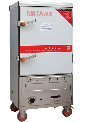 Tủ nấu cơm công nghiệp 8 khay dùng gas TCG-8 có bánh xe di chuyển.