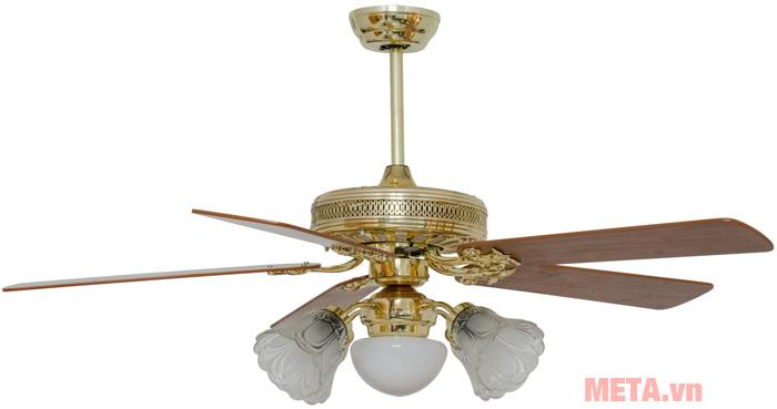 Quạt trần đèn chùm cánh gỗ Kim Thuận Phong NP509 được thiết kế đẹp mắt