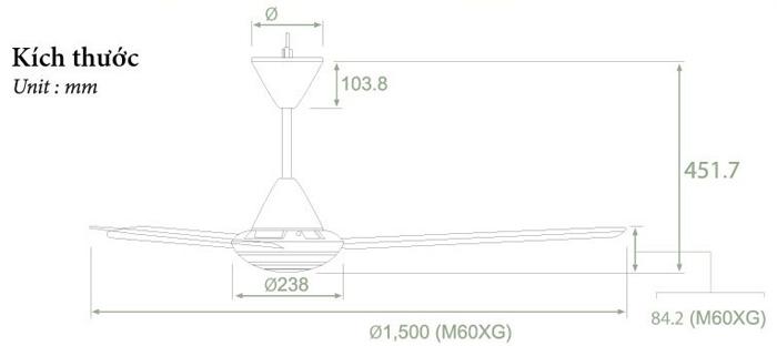 Kích thước quạt trần M60XG