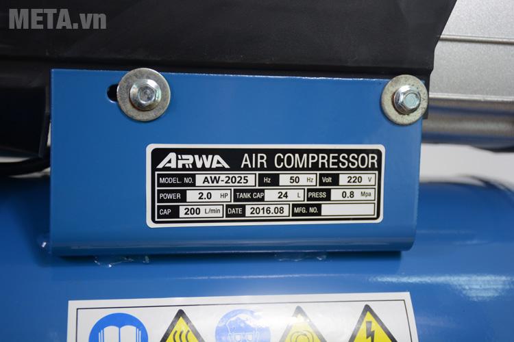 Thông số kỹ thuật máy nén khí Arwa AW-2025
