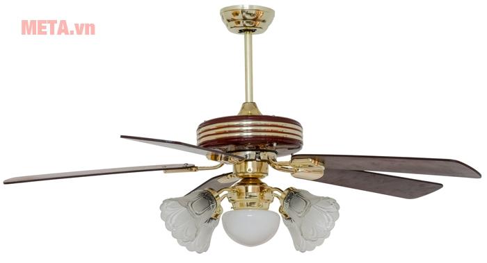 Hình ảnh quạt trần đèn chùm cánh gỗ Kim Thuận Phong KN508
