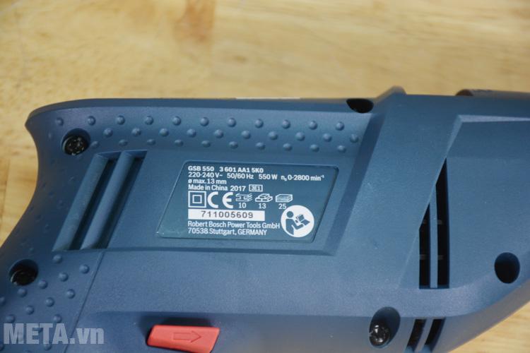 Thông số kỹ thuật của máy khoan GSB 550