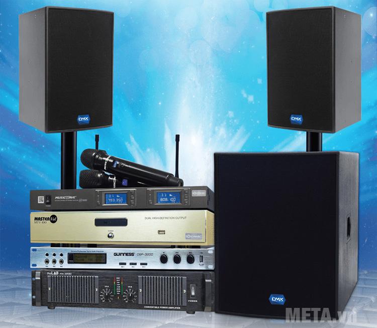 Loa karaoke DMX SUB-18B có thể kết nối với amply