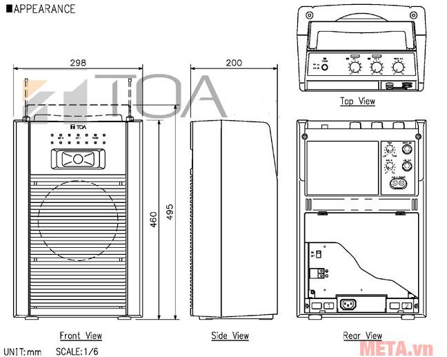 Cấu tạo của tăng âm xách tay có cassette TOA WA-1822CH