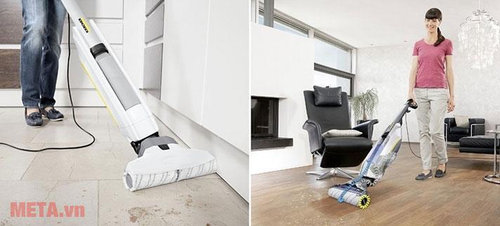 Sử dụng máy lau sàn 2 trong 1 Karcher FC 5 giúp lau nền nhà sạch bong