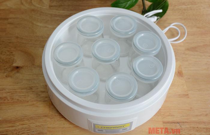 Máy làm sữa chua Chefman 8 cốc thủy tinh dễ dàng sử dụng