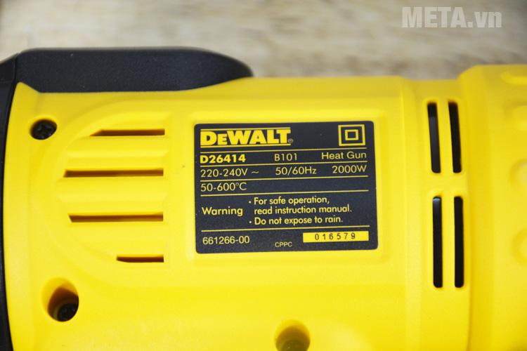 Thống số của máy thổi hơi nóng 2.000W DeWALT D26414