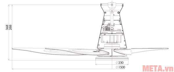 Kích thước của quạt trần Panasonic 5 cánh F-60XDN