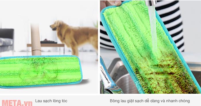 Bông lau giặt sạch dễ dàng và nhanh chóng