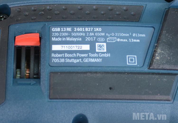 Thông số kỹ thuật của máy khoan Bosch GSB 13 RE