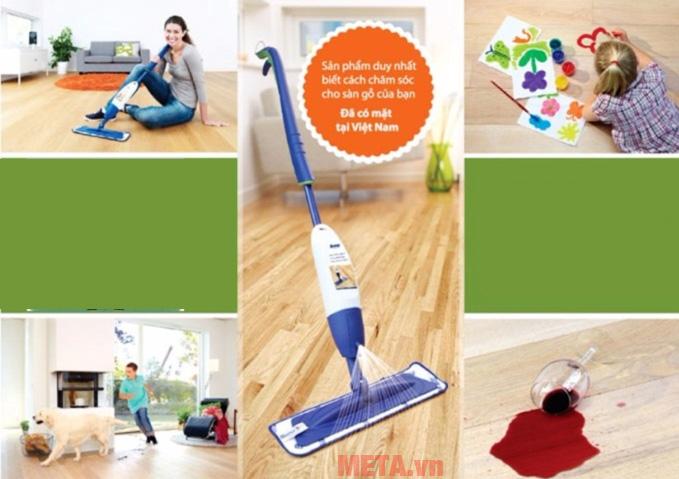 Bona Spray Mop sẽ phù hợp để vệ sinh sàn gỗ