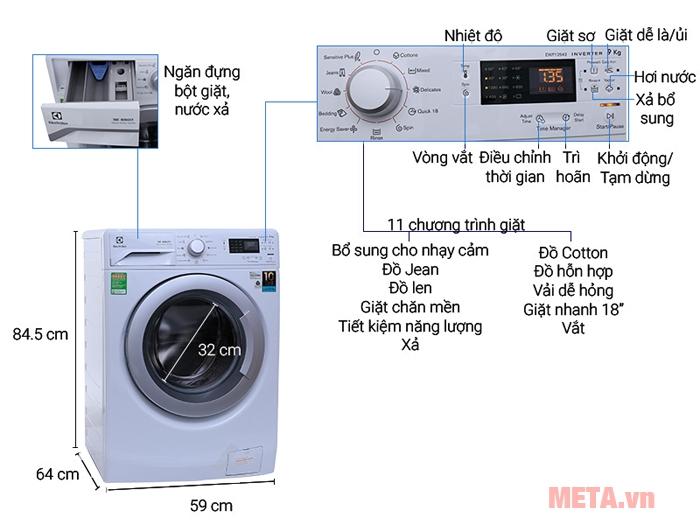 Máy giặt cửa trước 9 kg Electrolux EWF12942 gồm 12 chương trình giặt.