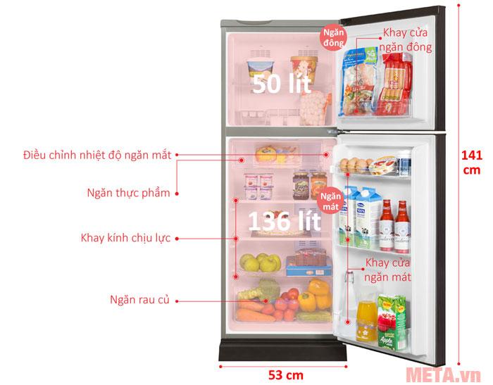 Kích thước của tủ lạnh AQUA Inverter 186 lít AQR-I209DN(DC)