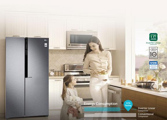 Hình ảnh sử dụng tủ lạnh LG Inverter 613 lít GR-B247JDS