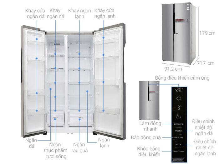 Cấu tạo các bộ phận của tủ lạnh LG Side by side