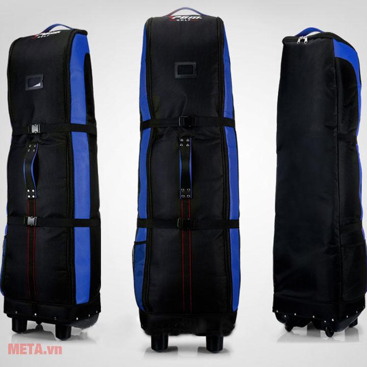 Túi golf màu xanh có bánh xe